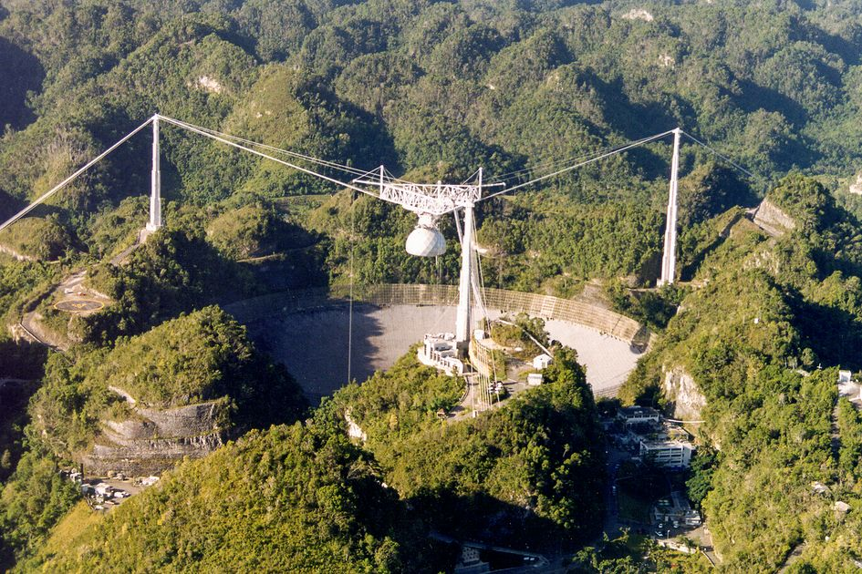 The Arecibo Observatory in Puerto Rico is the site of the world's second-largest single-dish radio telescope.